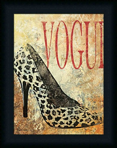 Vogue by Dee Dee Leopard Print High Heel 15x19 Wall Art Print Framed Picture (Pictures Of High Heels compare prices)