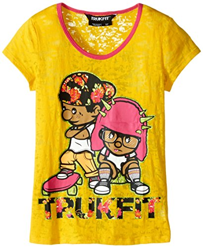 Trukfit Big Girls' Burnout Graphic Tee Shirt, Gold Fusion, Large