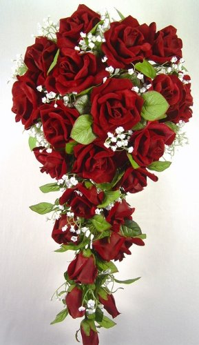 Red Silk Rose Cascade - Wedding Bouquet