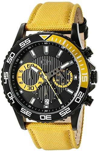 Carlo Monti - CM509-620 - Montre Homme - Quartz Chronographe - Chronomètre - Bracelet Textile Jaune