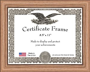 traditional thick oak finish certificate frame 8 5 x 11 single frames. Black Bedroom Furniture Sets. Home Design Ideas