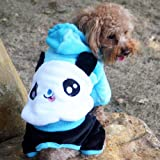"Dog Winter Clothes Teddy Pomeranian Dog Coat Lovely Panda Flannel Clothes Small Dog Pet Clothes Pet Coat (Sky blue, Large (Neck 11.02"";Back 10.63""))"