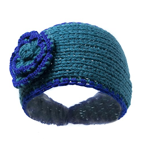 Blue Boho Winter Knit Ear Warmer Head Wrap W/ Flower, Warm ...