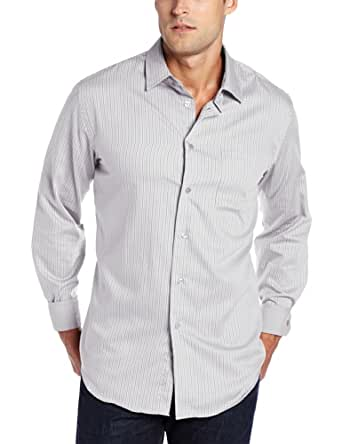 Van Heusen Men's Long Sleeve Classic Stripe Button Down, Grey Griffin, Medium