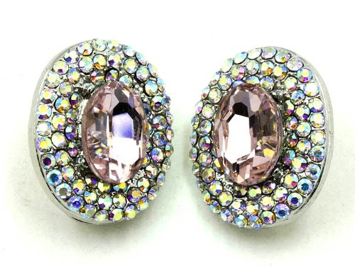 EARRING CRYSTAL CLIP ON PINK Fashion Jewelry Costume Jewelry fashion accessory Beautiful Charms