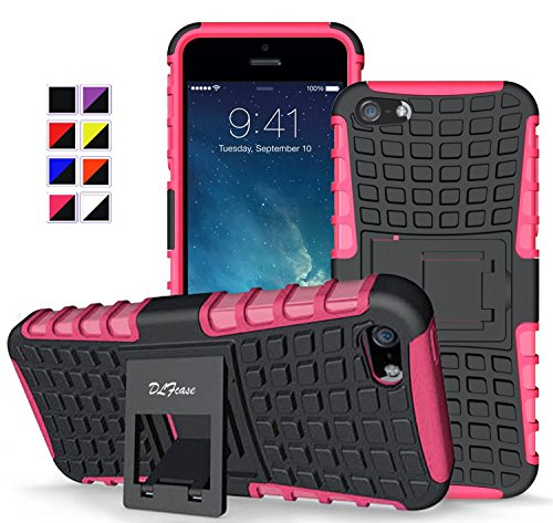 iPhone SE/5/5s Case , [ Shockproof ] Heavy Duty Rugged Dual Layer TPU Textured Non Slip Reinforced Polycarbonate Hybrid Case for iPhone SE/5 /5s with Kickstand and Free Screen Protector (Hot pink) (Hot Pink Iphone 5 Case compare prices)