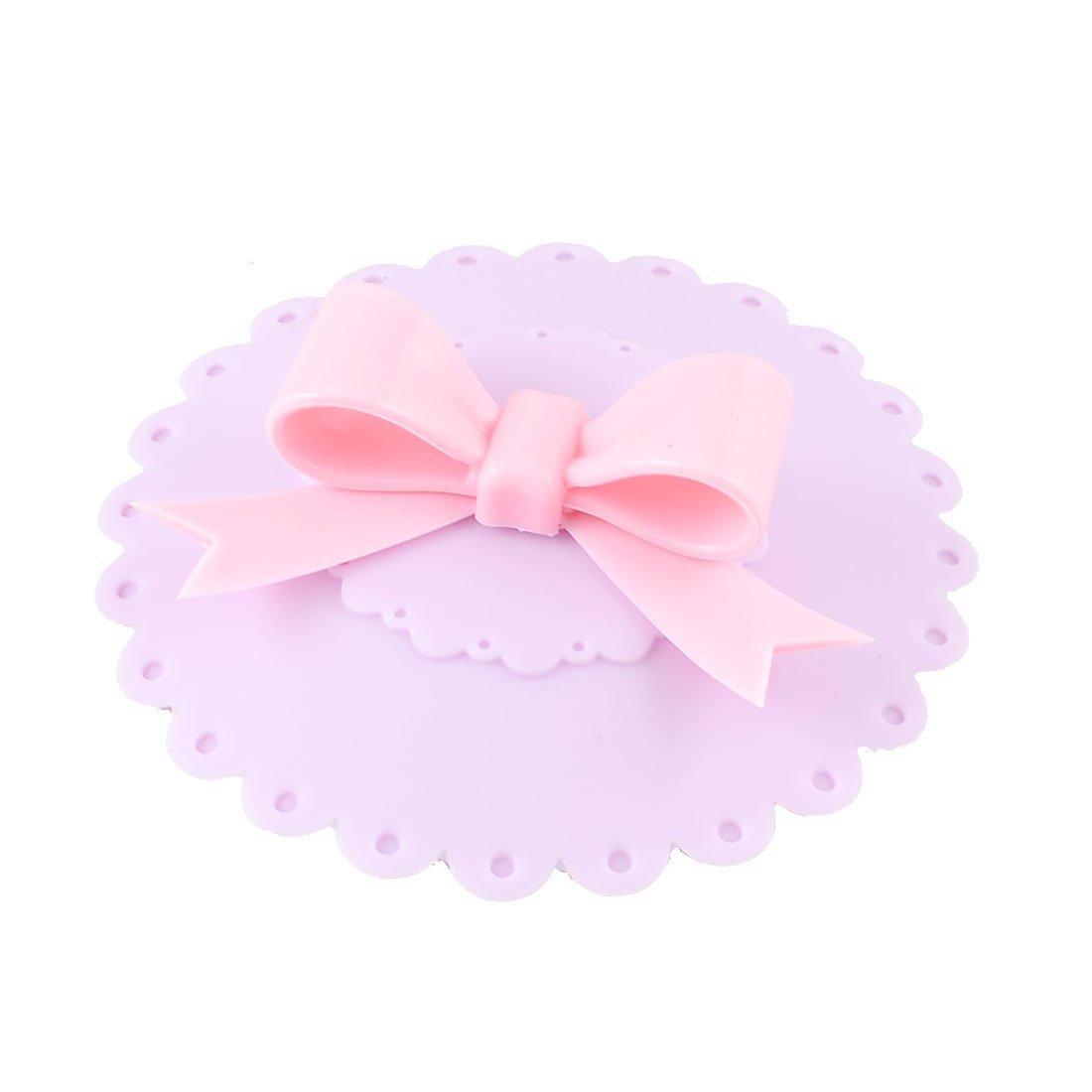 SODIAL(R) Tapa Cubierta para Vaso Copa, Tapa Estanca de Silicona Purpura con Lazo de Color Rosa   Comentarios y más información