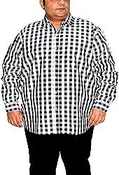 Xmex Men's Formal Shirt (KR-NEOECOCHEKSWHITE-BROWN_XXXXX-Large, White, Black & Brown, XXXXX-Large)
