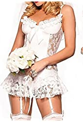 LOVEBEAUTY® Women's Bride Lace Shoulder Straps Translucent Lingerie 4 Pieces Set