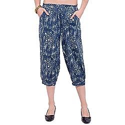 TUNTUK Women's Serena Pants, Blue Cotton Capri