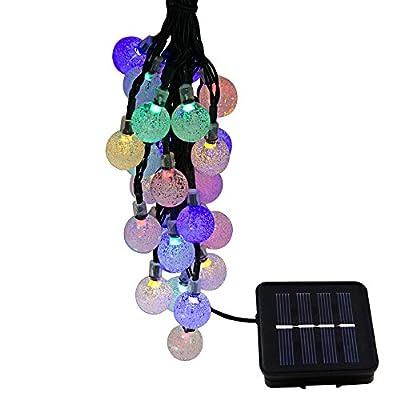 Rockbirds 30 LED Solar String Lights, Outdoor Crystal Ball Fairy Bubble Christmas Lights