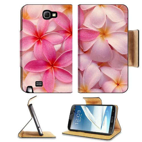 Tropical Pink Plumeria Flowers Exotic Hawaii Leis Fresh Pretty Samsung Galaxy Note 2 N7100 Flip Case Stand Magnetic Cover Open Ports Customized Made To Order Support Ready Premium Deluxe Pu Leather 6 1/16 Inch (154Mm) X 3 5/16 Inch (84Mm) X 9/16 Inch (14M front-564935