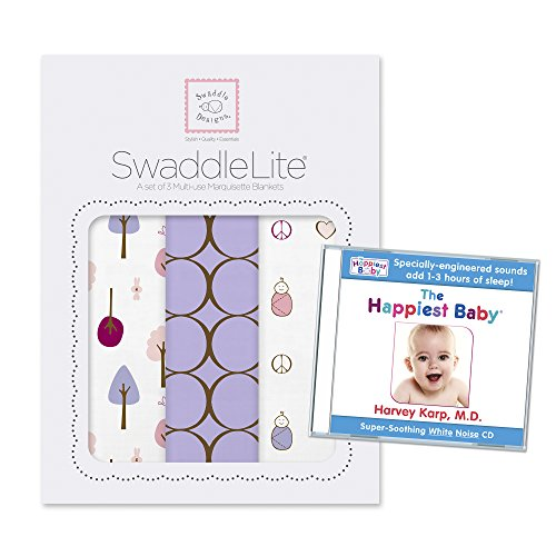 SwaddleDesigns SwaddleLite 3pack with The Happiest Baby White Noise CD Bundle, Cute & Calm Lite, Lavender