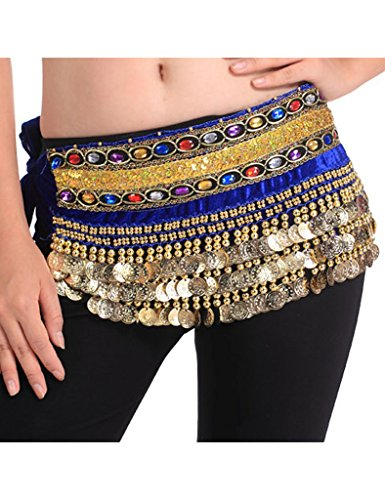 Zacoo Belly Dance Scarf Costumes Hip Skirt 248 Coins Double Belt Wrap Color Sapphire