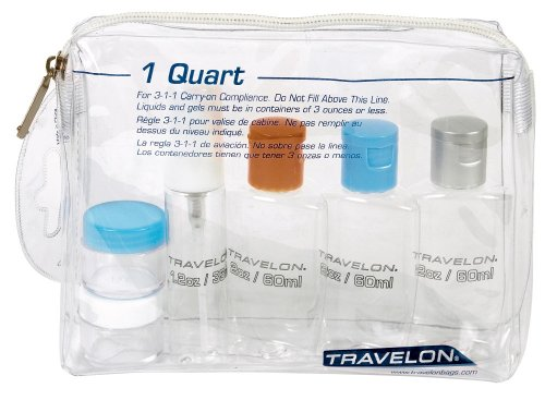 Travelon 1-Quart Zip-Top Bag With Plastic Bottles - Clear