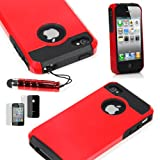 ATC Red Armor Defender Hybrid Silicone/PC Case Skin for iPhone 4 4s + Free Screen Protector & Stylus