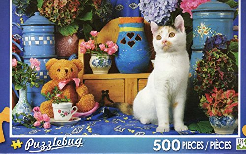 Puzzlebug 500 Piece Puzzle ~ Calico Cat Sitting By Tea Set And Teddy Bear