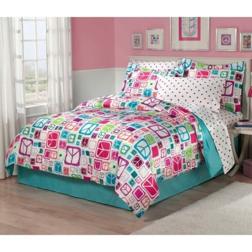New Bed Bag Full Twin Blue Pink White Peace Signs 7 Pc Comforter Sheets Set Nwt front-921963