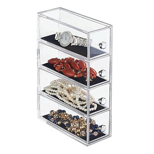 mDesign Fashion Jewelry Organizer Box for Rings, Earrings, Bracelets, Necklaces - 4 Drawers, Clear/Black