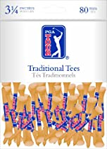 Zero Friction PGA Tour Imprinted Traditional Bamboo Golf Tees (2-1/8 Inch, White, Pack of 100)