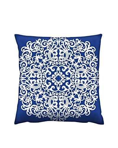 Gravel Sophisticated Tile Print Throw Pillow, Navy/White