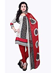 Surat Tex White & Red Color Casual Wear Printed Cotton Un-Stitched Salwar Suit-E521DL2011KK
