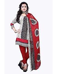 Surat Tex White & Red Color Casual Wear Printed Cotton Un-Stitched Salwar Suit-E521DL2011KK
