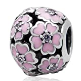 Charmstar Primrose Meadow Charm with Enamel and Clear CZ Stones Authentic Sterling Silver Flower Bead Fits European Bracelet (Pink)