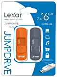 Lexar 16GB JumpDrive S70 USB Flash Drive Memory Stick - Twin Pack