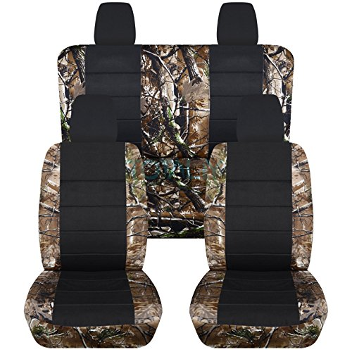 Jeep Wrangler JK (2011 to 2016) Camo and Black Seat Covers: Woods - Full Set (19 Prints Available) (Jeep Jk Seat Covers Camo compare prices)