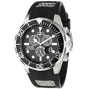 Invicta Men's 12571 Pro Diver Chronograph Black Carbon Fiber Dial Black Polyurethane Watch with Yellow Impact Case