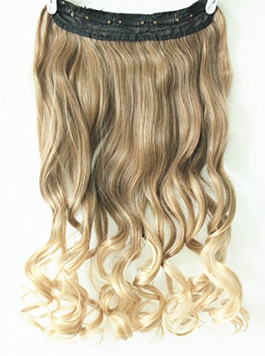 34-Full-Head-Clip-in-Hair-Extensions-Ombre-One-Piece-2-Tones-Wavy-Curly-Light-ash-brown-to-sandy-blonde
