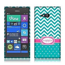 Nextkin Nokia Lumia 735 Flexible Slim Silicone TPU Skin Gel Soft Protector Cover Case - Teal Mint/ White Happiness Monogram