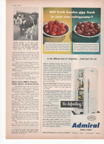 Admiral Dual-Temp Refrigerator Foods Don't Dry Out Kitchen Home Appliances 1950 Vintage Antique Advertisement (1950 Refrigerator compare prices)
