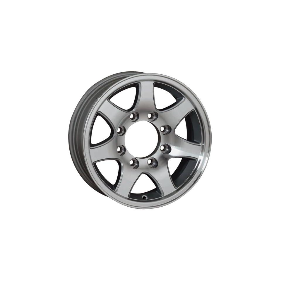 16x6 Sendel T02 Trailer Silver Machined Wheel Rim 8x165.1 8x6.5 0mm Offset 124.46mm Hub Bore Automotive