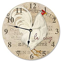 The Stupell Home Decor Collection Le Coq White Rooster Decorative Vanity Wall Clock