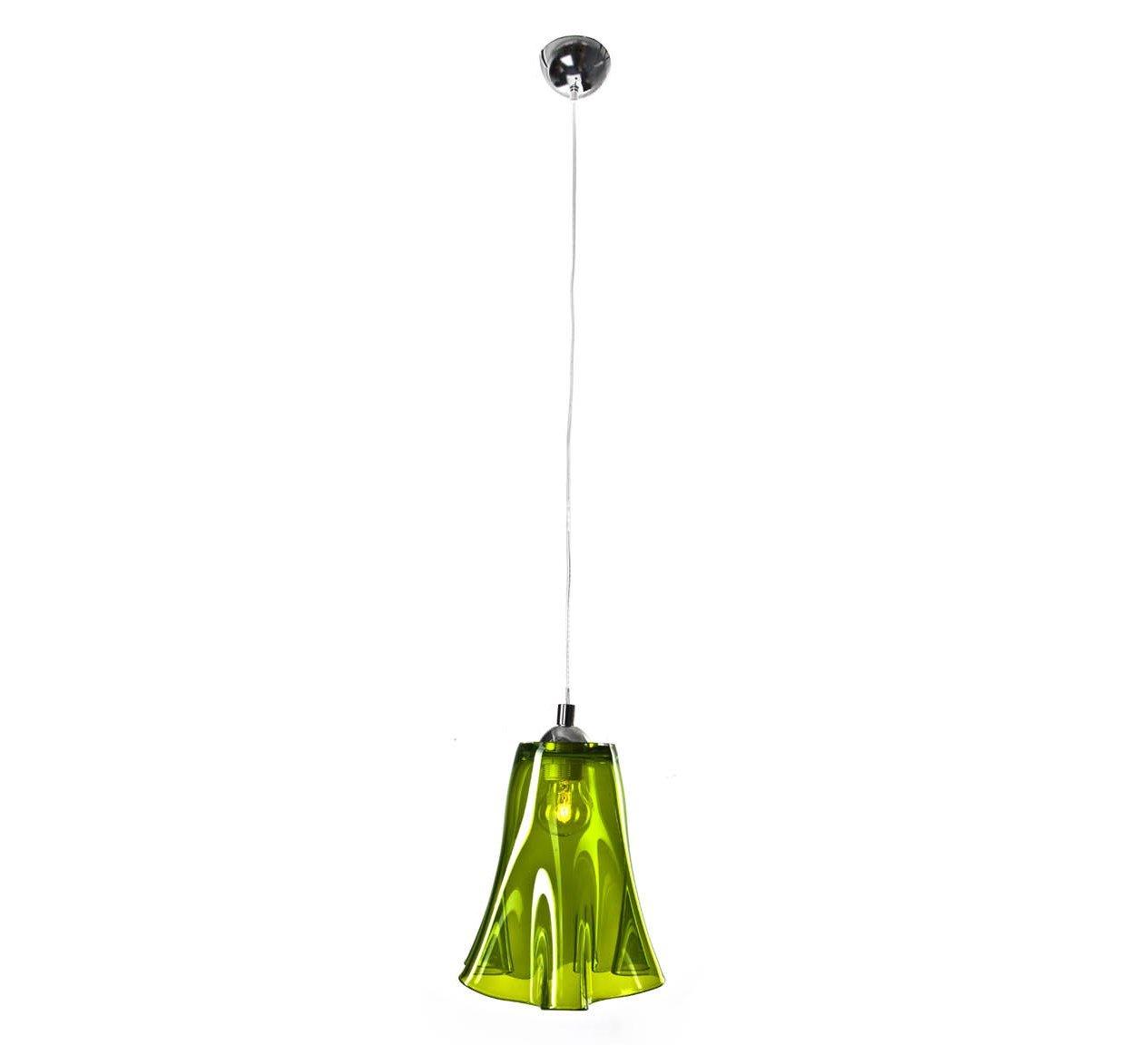 SIGNATURE HOME COLLECTION Deckenhängelampe mit gewelltem Glasschirm, Hängeleuchte, 21 x 21 x 30 cm, grün durchscheinend CO-122-ME
