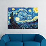 IARTS Wall Decoration Famous Painting Reproduction Vincent Van Gogh Starry Night Oil Painting Reproduction (Unstretch No Frame)