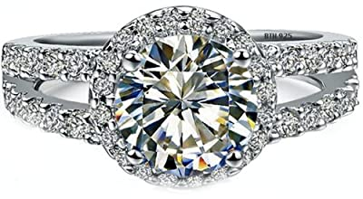Ladies Ring -925 Sterling Silver Luxury Unique Round Cut Simulated Diamonds CZ Halo Design Affordable Wedding Engagement Ring - Comes with Luxury Gift Box.