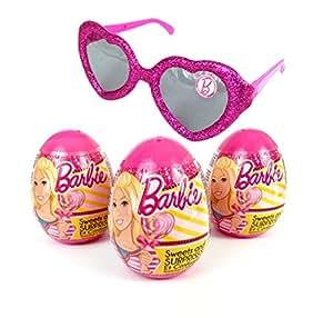3 Barbie Plastic Surprise Eggs Plus BONUS Sparkle Sunglasses