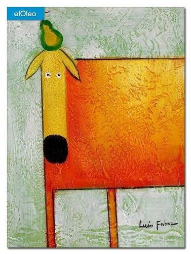 elOleo Pop Art – Der lustige gelbe Hund 40×30 Gemälde auf Leinwand handgemalt 83076A günstig
