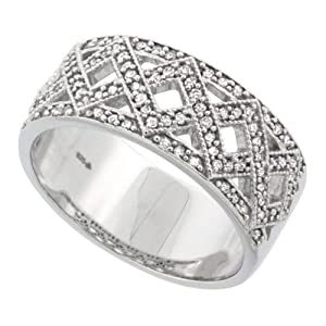 Sterling Silver Diamond Ring Double Zigzag Pattern 0.33 cttw 5/16 inch (8 mm) wide, size 5.5