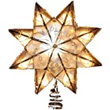 Kurt Adler Indoor 10 Light 8-Point Capiz Star Treetop with Arabesque Decoration