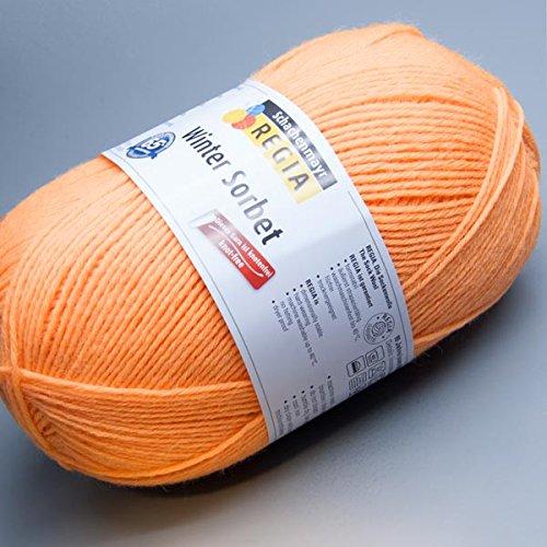Regia 6 brins hiver 6868 sorbet abricot pelote de laine spécial chaussettes 150 g
