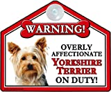 YORKSHIRE TERRIER 'Sucker' Dog Car Suction Sign (for car, caravan or house windows)