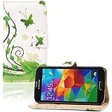 tinxi® Kunstleder Tasche für Samsung Galaxy S5 I9600 Tasche Flipcase Schale Etui Case Cover Skin mit Karten Slot Schmetterling in Grün