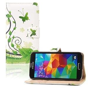tinxi® PU Ledertasche für Samsung Galaxy S5 Schutzhülle Flipcase Schale Cover Etui Skin Standfunktion mit Karten Slot Schmetterling in Grün