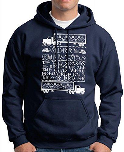 Ugly Christmas Sweater For Truckers, Tis The Season Premium Hoodie Sweatshirt Medium Navy