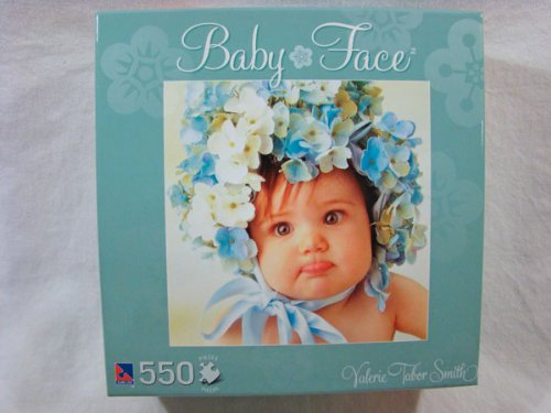 Valerie Tabor Smith 550 Piece Jigsaw Puzzle: Baby Face - Aqua Box