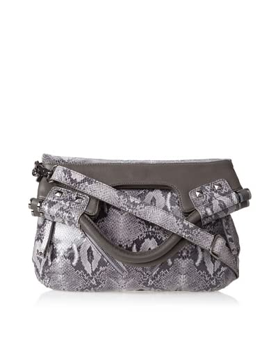 Chez by Cheryl Women's Jemma Medium Foldover Shoulder Bag, Grey Python As You See